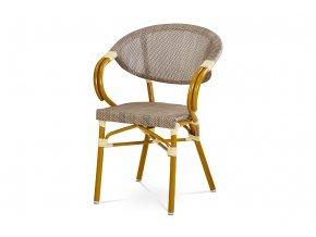 Zahradní židle, cappuccino plastový výplet, kov, zlatohnědý lak