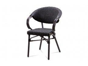 Zahradní židle, černý umělý ratan, kov, hnědočerný lak