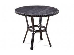 Zahradní stůl, kov hnědý, umělý ratan černý, polywood černý