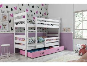Patrová postel Norbert bílá/růžová
