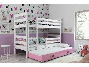 Patrová postel s přistýlkou Norbert bílá/růžová