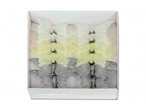 Motýl s klipem sada 12 ks, mix barev bílá, krémová, stříbrná