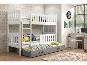 Patrová postel s přistýlkou Kuba bílá/grafit