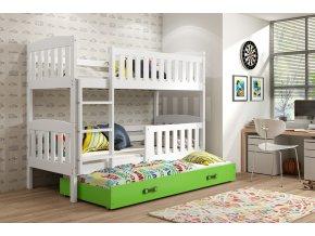 Patrová postel s přistýlkou Kuba bílá/zelená