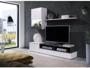 Obývací stěna Robin bílá/sosna tmavá