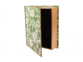 Krabička ve tvaru knihy dřevěná potažená plátnem s potiskem, velká velikost