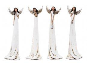 Anděl, dekorace z polyresinu, mix 4 tvarů, cena za 1 kus
