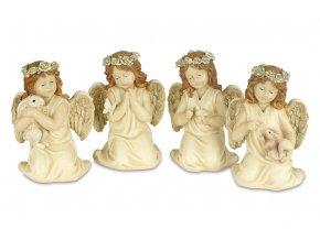 Anděl, dekorace z polyresinu s LED světlem, mix 4 tvarů, cena za 1 kus