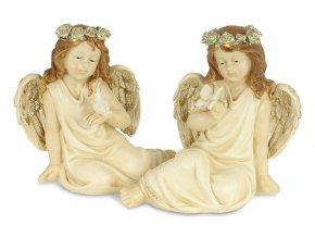 Anděl, dekorace z polyresinu s LED světlem, mix 2 tvarů, cena za 1 kus