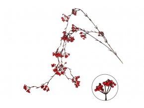 Větvička jeřabin, umělá dekorace, barva červená