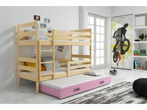Patrová postel s přistýlkou Norbert borovice/růžová