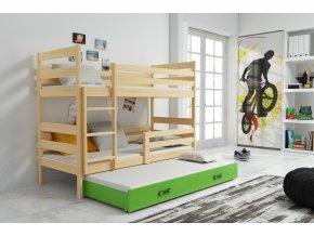 Patrová postel s přistýlkou Norbert borovice/zelená