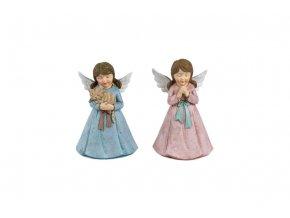 Anděl, dekorace z polyresinu, mix 2 tvarů, barva růžová, cena za 1 kus