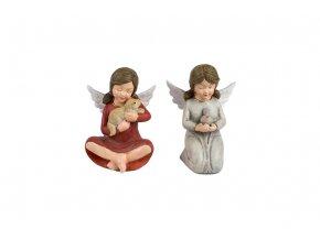 Anděl, dekorace z polyresinu, mix 2 tvarů, barva šedá nebo růžová, cena za 1 kus