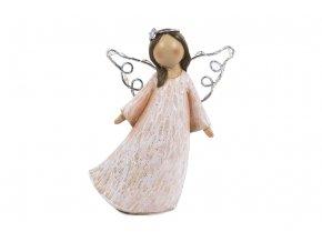 Anděl se svíticími LED křídly, polyresin, růžový