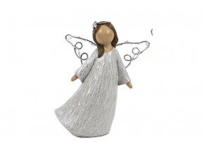 Anděl se svíticími LED křídly, barva růžová, polyresinová dekorace