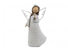 Anděl se svíticími LED křídly, barva šedivá, polyresinová dekorace
