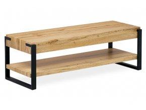 TV stolek 120x44x40 cm, MDF 3D dekor divoký dub tloušťka 100 mm, kovové nohy v černém matném laku
