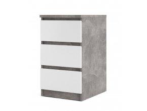 Komoda Simplicity 237 beton/bílý lesk