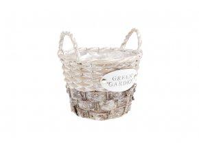 Košík proutěný skůrou, s uchy a fólií, barva přírodní s bílou. S nápisem GREEN GARDEN