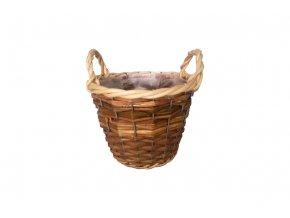 Košík proutěný s uchy a fólií, barva přírodní duo