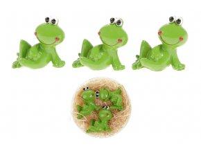 Žába, 3 kusy v krabičce. Dekorace z polyresinu, cena 1 krabičku