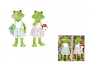 Žába a žabák, 2 kusy v krabičce. Dekorace z polyresinu, cena 1 krabičku