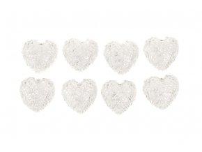 Srdce bílé zdobené, dekorace z polyresinu na nalepení. 8 kusů v krabičce, cena za 1 krabičku