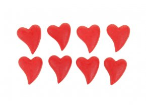 Srdce červené, dekorace z polyresinu na nalepení. 8 kusů v krabičce, cena za 1 krabičku