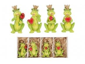 Žába s korunkou, držící srdce nebo růži. 4 kusy v krabičce,. Dekorace z polyresinu, cena za 1 krabičku