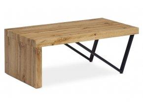 Konferenční stolek 110x60x43 cm, MDF dekor divoký dub tloušťka 60 mm, nohy kov černý mat