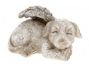 Pes s andělskými křídly, dekorace z polyresinu.