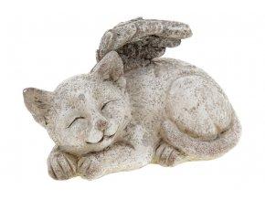 Kočka s andělskými křídly, dekorace z polyresinu.