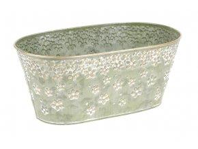 Truhlík z kovu na květiny v zelené barvě s dekorem květin