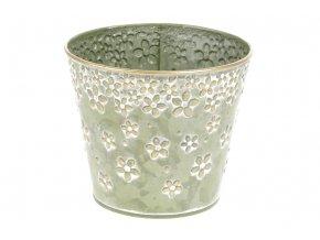 Obal z kovu na květiny v zelené barvě s dekorem květin