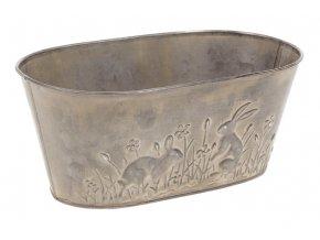 Truhlík na květiny z kovu s dekorem zajíčků