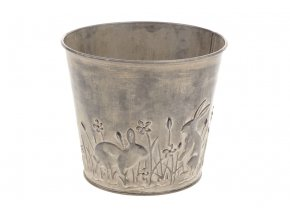 Obal na květiny z kovu s dekorem zajíčků