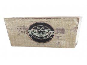 Truhlík dřevěný s dekoračním štítkem