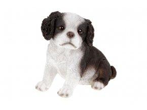 Královský psík v černobílé barvě, sedící, polyresinová dekorace