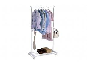 Stojan na šaty, bílá barva, kov / plast, chrom