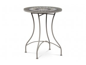 Zahradní stůl, deska z keramické mozaiky, kov, šedý lak (designově k židli JF2220)