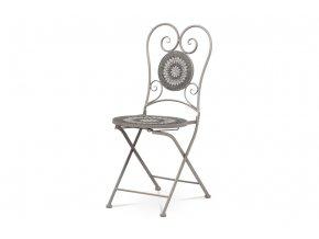 Zahradní židle, keramická mozaika, kov, šedý lak (designově ke stolu JF2219)