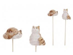 Kočka, keramická dekorace zápich, mix 2druhů. Cena za 1ks.