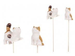 Kočka, keramická dekorace, zápich, mix 2druhů. Cena za 1ks.