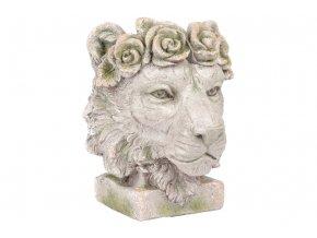 Hlava lva, dekorace z MgO keramiky s otvorem pro květináč