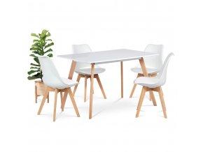 Jídelní stůl 120x80 cm, bílý matný lak, DT-605 WT