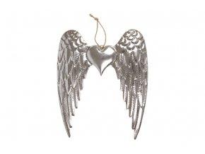 Křídla se srdíčkem, kovová dekorace na zavěšení, barva stříbrná