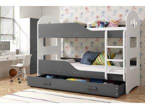 Patrová postel Domino 90x200 bílá/grafit