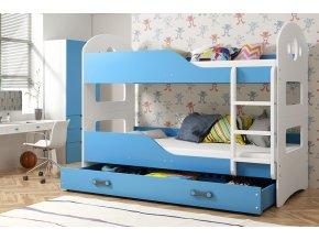 Patrová postel Domino 90x200 bílá/modrá