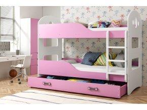 Patrová postel Domino 90x200 bílá/růžová